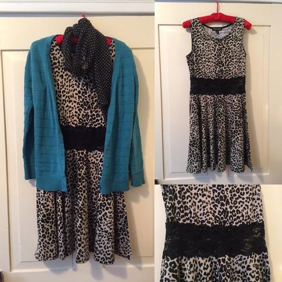 8db9fac67 About A Girl Dresses | Skater Dress Leopard Print Lace | Poshmark